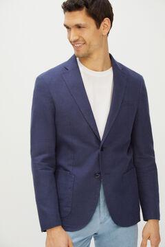 Cortefiel Americana microdibujo tejido lavado Azul