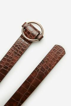 Cortefiel Round buckle belt Dark brown