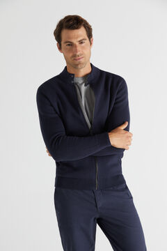 Cortefiel Zip-up cardigan with stand-up collar Navy