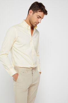 Cortefiel Plain extra soft cotton easy care shirt Yellow