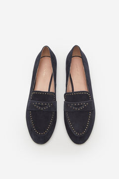 Cortefiel Split leather loafer with small gold studs Navy