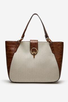 Cortefiel Canvas and coconut shopper bag Tobaco
