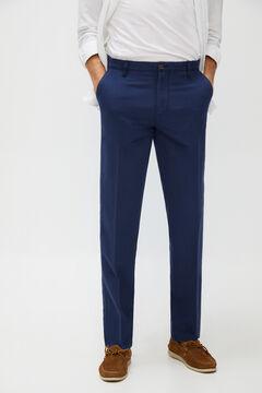 Cortefiel Regular fit linen trousers Navy