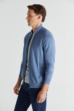 Cortefiel Cotton/cashmere zip-up cardigan Royal blue