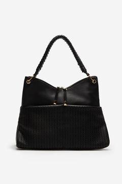 Cortefiel Hobo bag with die-cut detailing Black