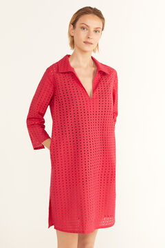 Cortefiel Broderie anglaise tunic kaftan with collar Orange