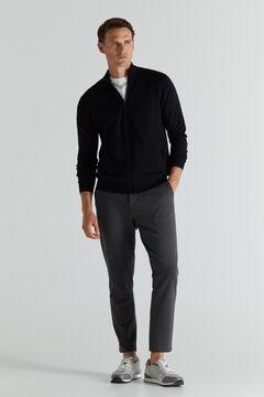 Cortefiel Cotton/cashmere zip-up cardigan Black