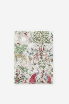 Cortefiel Exotic animals print lightweight scarf Natural