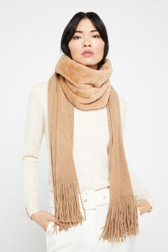 Cortefiel Knitted scarf with faux fur Mink