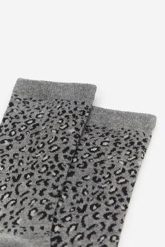 Cortefiel Leopard print socks Dark gray