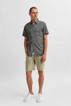 Cortefiel Camisa manga corta estampada Azul