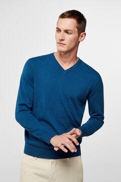 Cortefiel V-neck jumper  Blue
