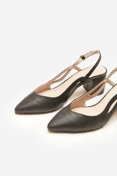 Cortefiel Raffia slingback shoe Black