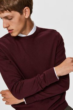 Cortefiel Classic organic cotton jumper  Red