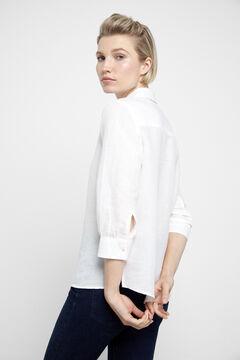 Cortefiel Linen blouse White