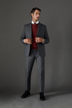 Cortefiel Checked tailored fit trousers Gray