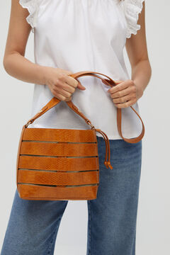 Cortefiel Crocodile bucket bag Tobaco