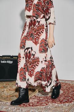 Cortefiel Long printed skirt Pink