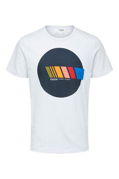 Cortefiel Camiseta manga corta estampada Blanco