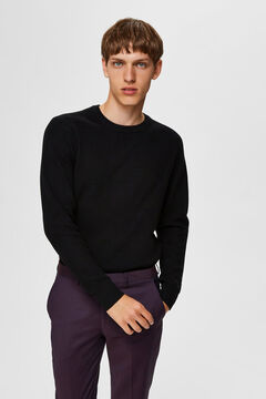 Cortefiel Organic cotton round neck jumper Black
