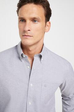 Cortefiel Plain organic cotton Oxford shirt Gray