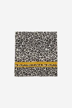 Cortefiel Fular estampado leopardo Negro