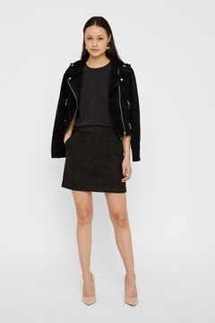 Cortefiel Faux suede mini skirt Black