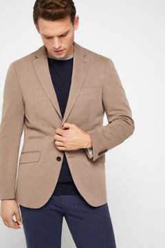 Cortefiel Textured jersey-knit blazer Mole