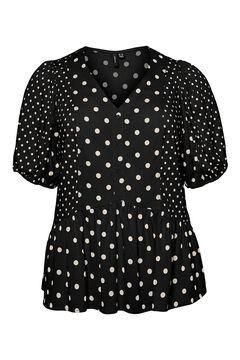 Cortefiel Camisa de bolinhas curvo Preto