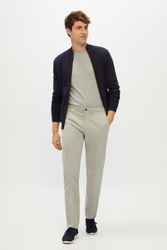 Cortefiel Textured slim fit trousers with elasticated waist Gray