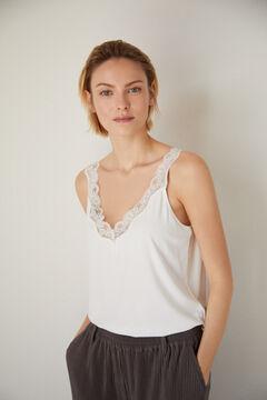Cortefiel T-shirt alças rib Branco