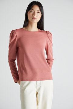Cortefiel Puffed sleeve piqué T-shirt Pink