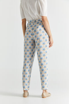 Cortefiel Bamboo printed trousers Natural