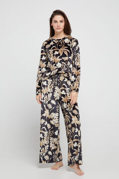 Cortefiel Wide leg cropped velvet trousers Natural