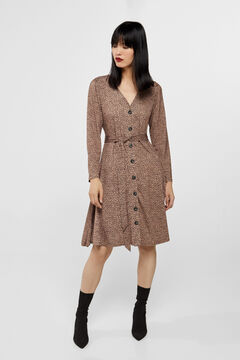 Cortefiel Jersey-knit buttoned dress Natural