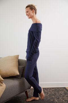 Cortefiel Soft feel jersey-knit trousers Navy