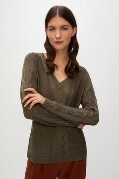 Cortefiel V-neck cable knit jumper Green
