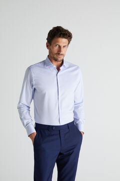 Cortefiel Textured slim fit stain resistant dress shirt Royal blue