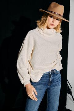 Cortefiel Oversize jumper in faux shearling effect jersey-knit Ecru