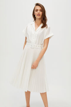 Cortefiel Dress with pleated skirt White