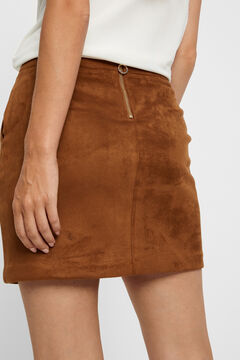 Cortefiel Faux suede mini skirt Tobaco