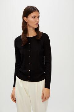 Cortefiel Cross-knit jacket Black