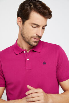 Cortefiel Short-sleeved logo polo shirt Plum