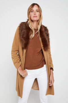 Cortefiel Faux fur wool coat Camel
