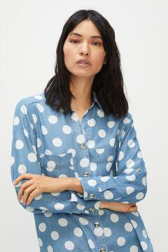 Cortefiel Camisa cargo 100% lyocell Azul