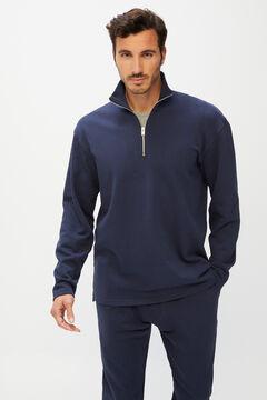 Cortefiel Long-sleeved organic cotton polo shirt Navy