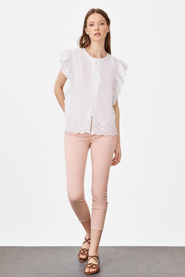 0db3604261 Cortefiel Camisa manga volante Blanco