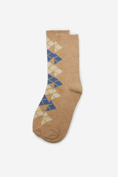 Cortefiel Long diamond print socks Stone