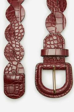Cortefiel Crocodile woven belt Fuchsia