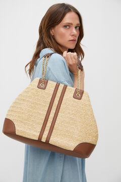 Cortefiel Raffia slouch handbag Brown